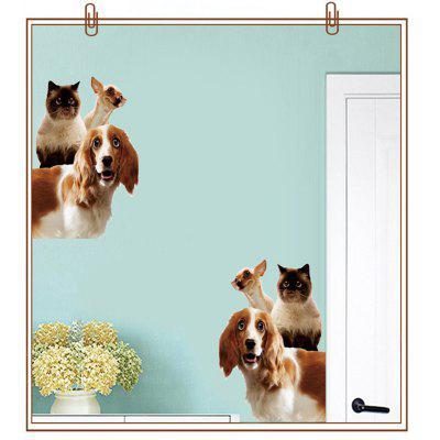 Creative 2PCS Cute Dogs Removable 3D Home Decoration Wall Stickers
