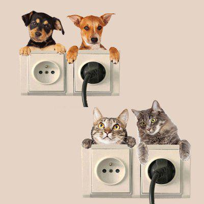4PCS Cute Dogs Removable 3D Decorative Wall Stickers
