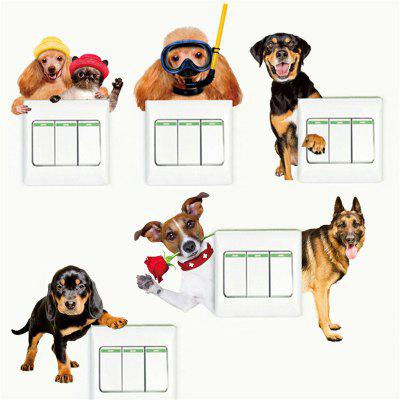 6PCS Cute Dogs And Cats Removable 3D Home Decorative Wall Stickers