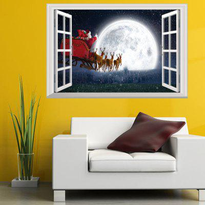 Creative Santa Claus On The Moon 3D Home Decoration Wall Strickers