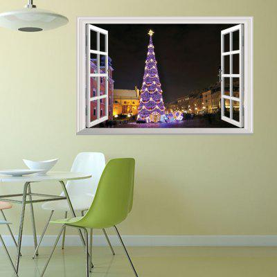 Creative Creative Christmas Tree Night View 3D Home Decoration Wall Stickers