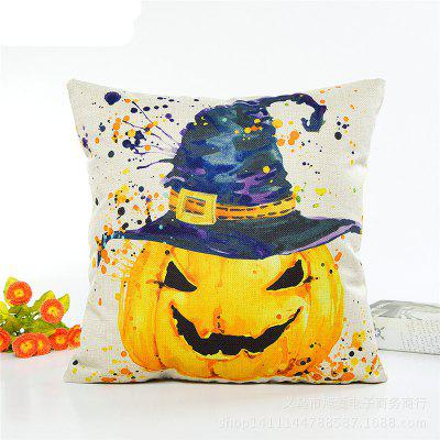 Fashionable Halloween Pumpkin Hat Flax Pillow Case Home Decorate Pillowcase