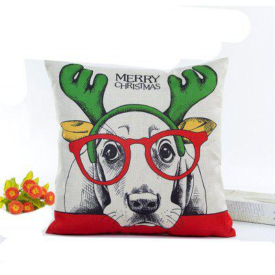 Lovely Christmas Dog Flax Pillow Cover Home Decoration Pillowcase