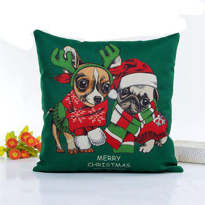 Creative Christmas Dog Flax Pillow Case Home Decoration Pillowcase