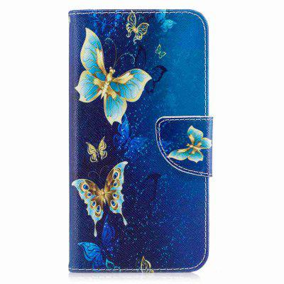Golden Butterfly Painted Pu Phone Case for Huawei P8 Lite 2017