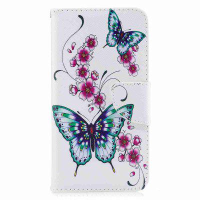 Peach Butterfly Painted Pu Phone Case for Huawei P8 Lite 2017