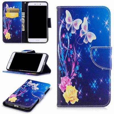Yellow Butterfly Painted Pu Phone Case for Huawei P8 Lite 2017