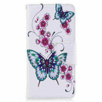 Peach Butterfly Painted Pu Phone Case for Huawei P10