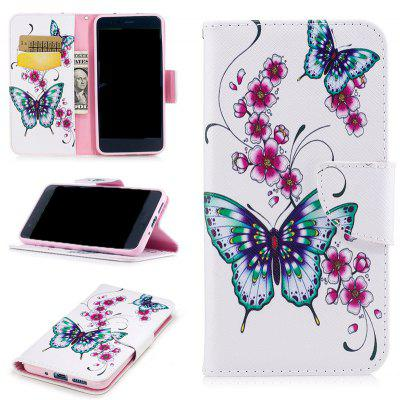 Peach Butterfly Painted Pu Phone Case for Huawei P10 Lite