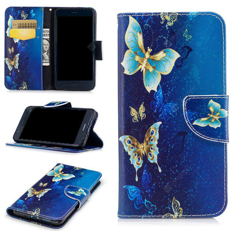 Golden Butterfly Painted Pu Phone Case for Huawei P10 Lite