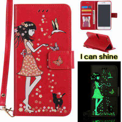 Buy AMERICAN BEAUTY Women Cat Luminous Painted Pu Phone Case for iPhone 6 Plus / 6s Plus for $6.43 in GearBest store