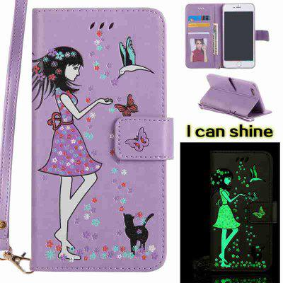 Buy LIGHT PURPLE Women Cat Luminous Painted Pu Phone Case for iPhone 6 Plus / 6s Plus for $6.43 in GearBest store