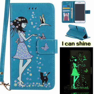 Buy CORNFLOWER Women Cat Luminous Painted Pu Phone Case for iPhone 6 Plus / 6s Plus for $6.43 in GearBest store