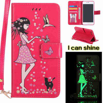 Buy TUTTI FRUTTI Women Cat Luminous Painted Pu Phone Case for iPhone 6 Plus / 6s Plus for $6.43 in GearBest store