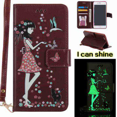 Buy BROWN Women Cat Luminous Painted Pu Phone Case for iPhone 6 Plus / 6s Plus for $6.43 in GearBest store