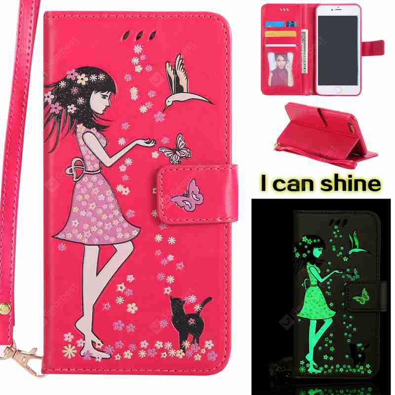 TUTTI FRUTTI Women Cat Luminous Painted Pu Phone Case for iPhone 6 Plus / 6s Plus