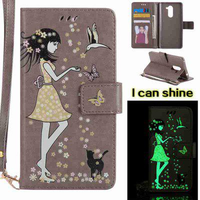 Buy OYSTER Women Cat Luminous Painted Pu Phone Case for Huawei Glory 6X for $7.11 in GearBest store