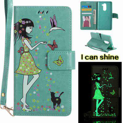 Buy FERN Women Cat Luminous Painted Pu Phone Case for Huawei Glory 6X for $7.11 in GearBest store