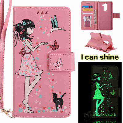 Buy PINK Women Cat Luminous Painted Pu Phone Case for Huawei Glory 6X for $7.11 in GearBest store