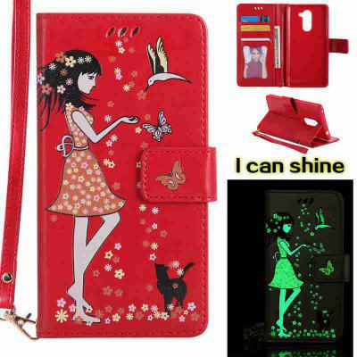 Buy AMERICAN BEAUTY Women Cat Luminous Painted Pu Phone Case for Huawei Glory 6X for $7.11 in GearBest store