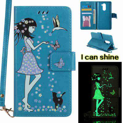 Buy CORNFLOWER Women Cat Luminous Painted Pu Phone Case for Huawei Glory 6X for $7.11 in GearBest store