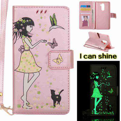 Buy 玫瑰金 Women Cat Luminous Painted Pu Phone Case for Huawei Glory 6X for $7.11 in GearBest store