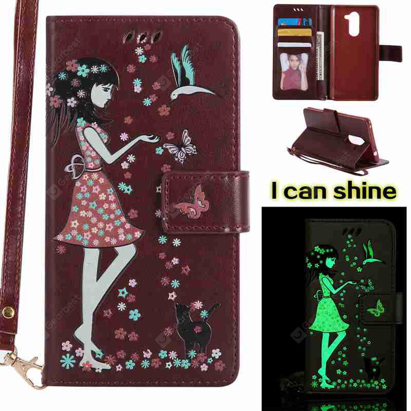 BROWN Women Cat Luminous Painted Pu Phone Case for Huawei Glory 6X