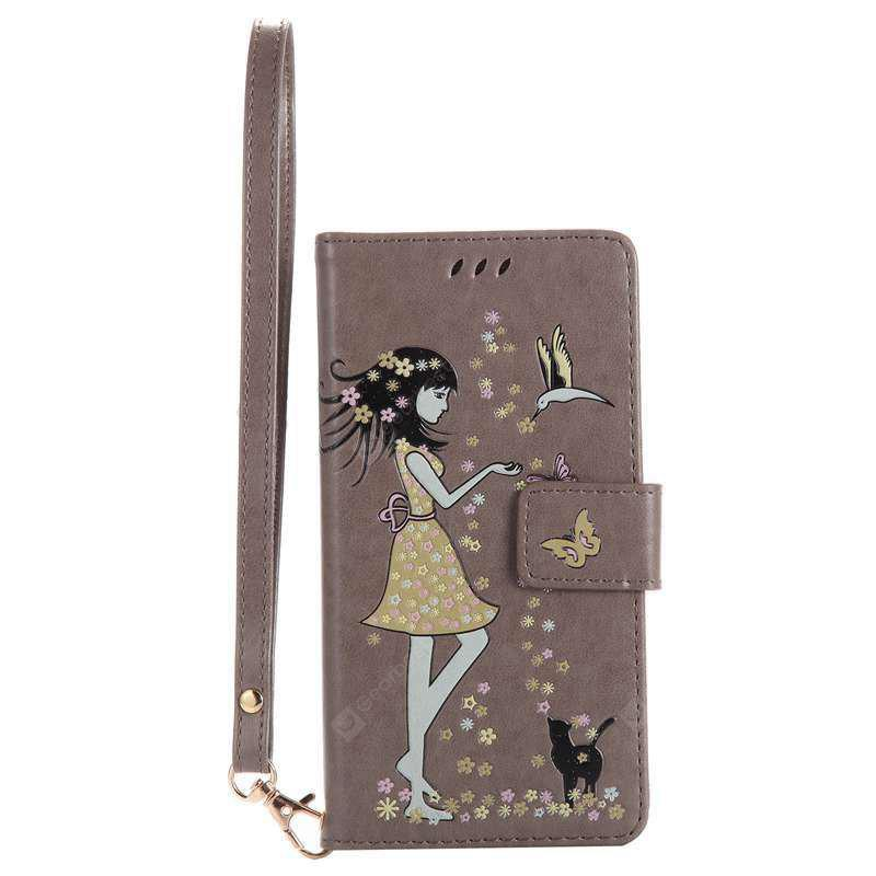 Women Cat Luminous Painted Pu Phone Case for Samsung Galaxy A5 2017