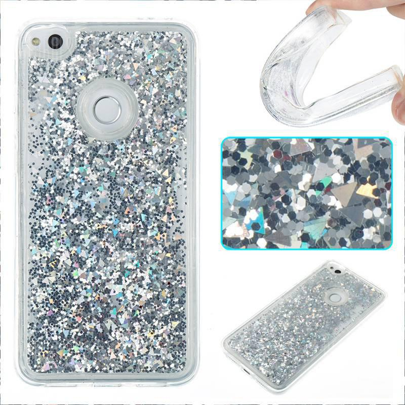 SILVER Pure Color Tpu Quicksand Phone Case for Huawei P8 Lite 2017