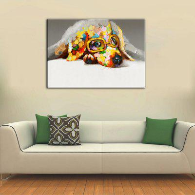 Yhhp Hand-Painted High-Definition Bespectacled Dog Pictures To Print Simulation Oil Painting Wall Art On Canvas Unframed