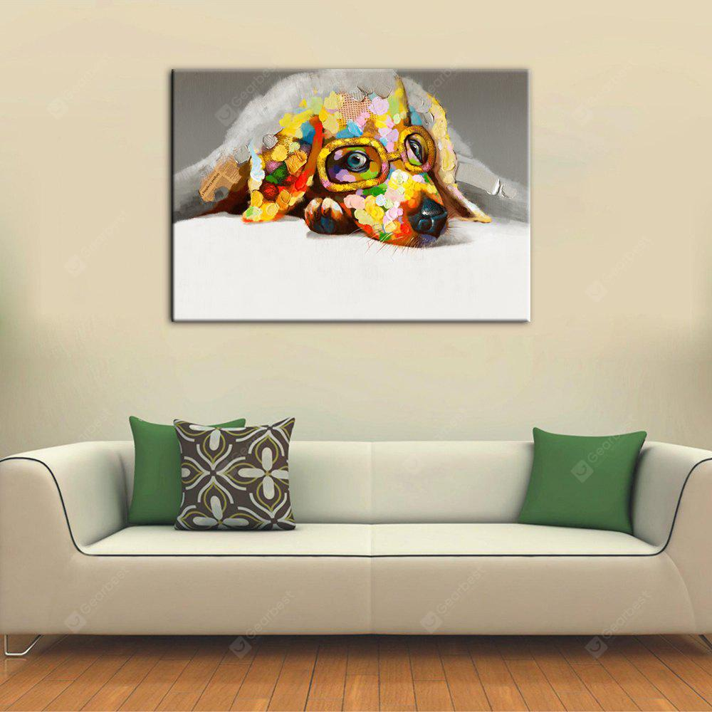 Yhhp Hand-Painted High-Definition Bespectacled Dog Pictures для печати Моделирование масляной живописи Wall Art On Canvas Unframed