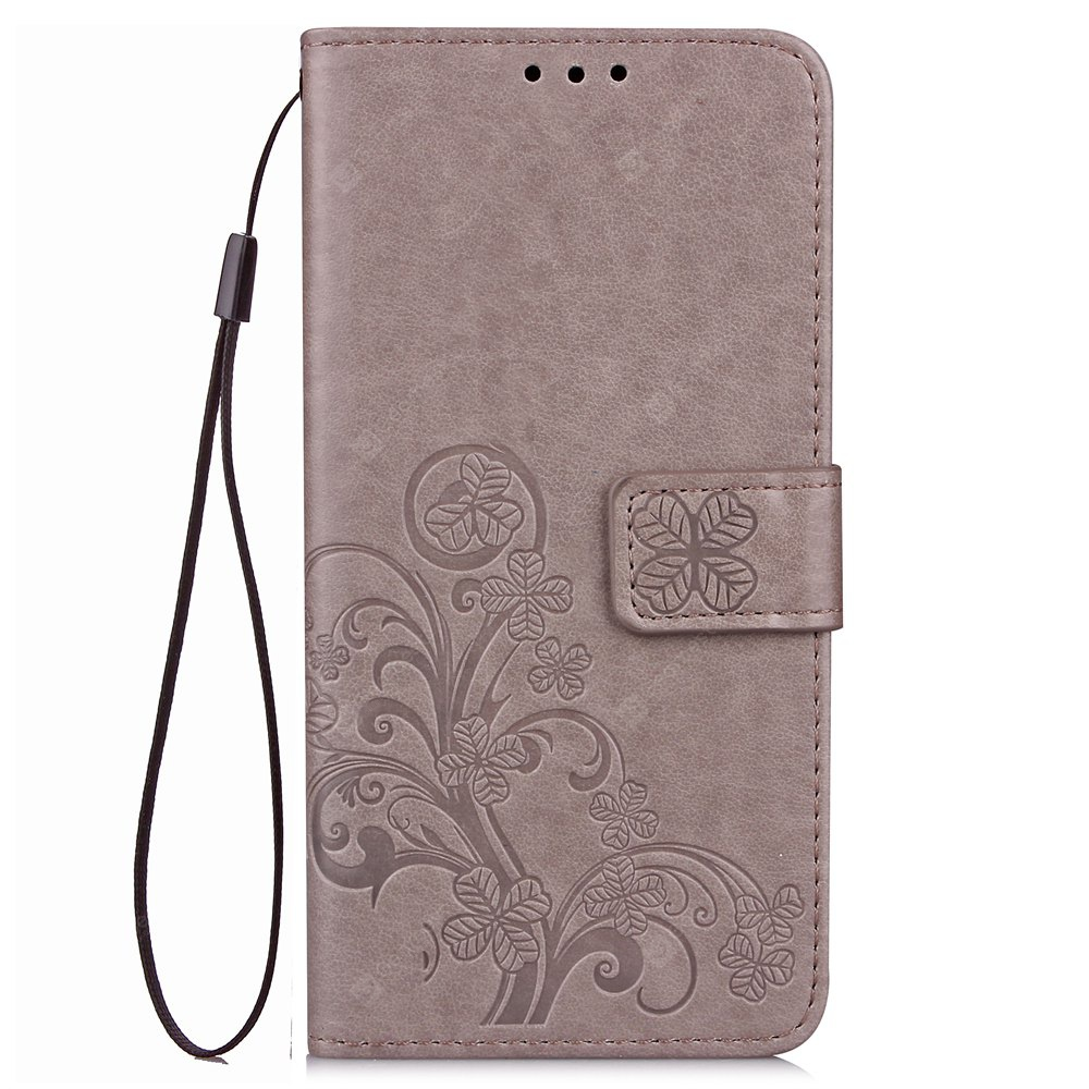 Yc Lucky Clover Holster Leaf Card Lanyard Pu Leather Case for Samsung J2 ( 2016 )
