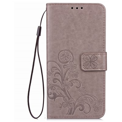 Yc Lucky Clover Holster Leaf Card Lanyard Pu Leather Case for Samsung J7 Prime