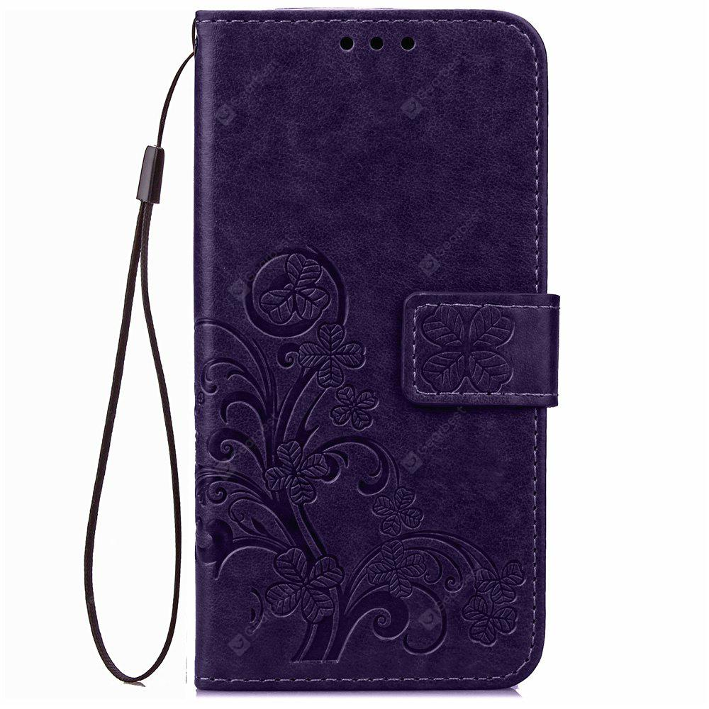 Yc Lucky Clover Holster Leaf Card Lanyard Pu Leather Case for Samsung J1ace