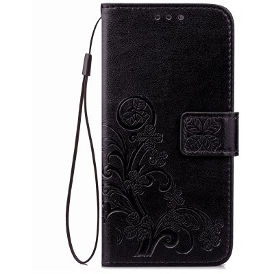 Yc Lucky Clover Holster Leaf Card Lanyard Pu Leather Case for Samsung J710 / J7 ( 2016 )