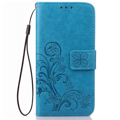 Yc Lucky Clover Holster Leaf Card Lanyard Pu Leather Case for Samsung A710