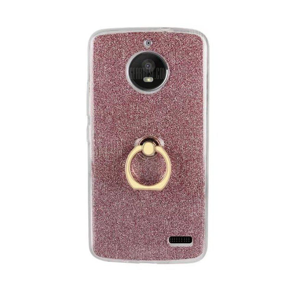 Wkae Soft Flexible TPU Back Cover Case Shockproof Protective Shell with Bling Glitter Sparkles and Kickstand for MOTO E4