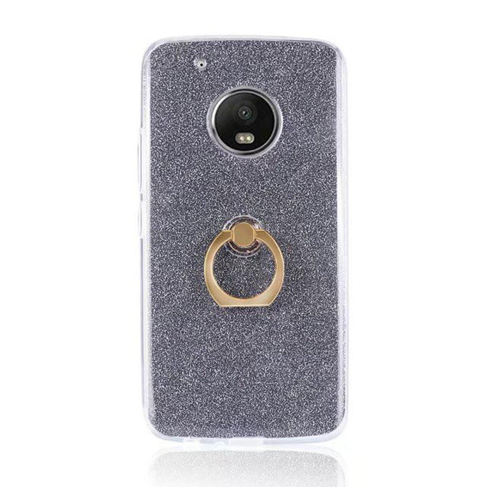 Wkae Soft Flexible TPU Back Cover Case Shockproof Protective Shell with Bling Glitter Sparkles and Kickstand for MOTO G5 Plus