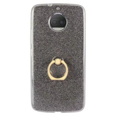 Wkae Soft Flexible TPU Back Cover Case Shockproof Protective Shell with Bling Glitter Sparkles and Kickstand for MOTO G5s Plus
