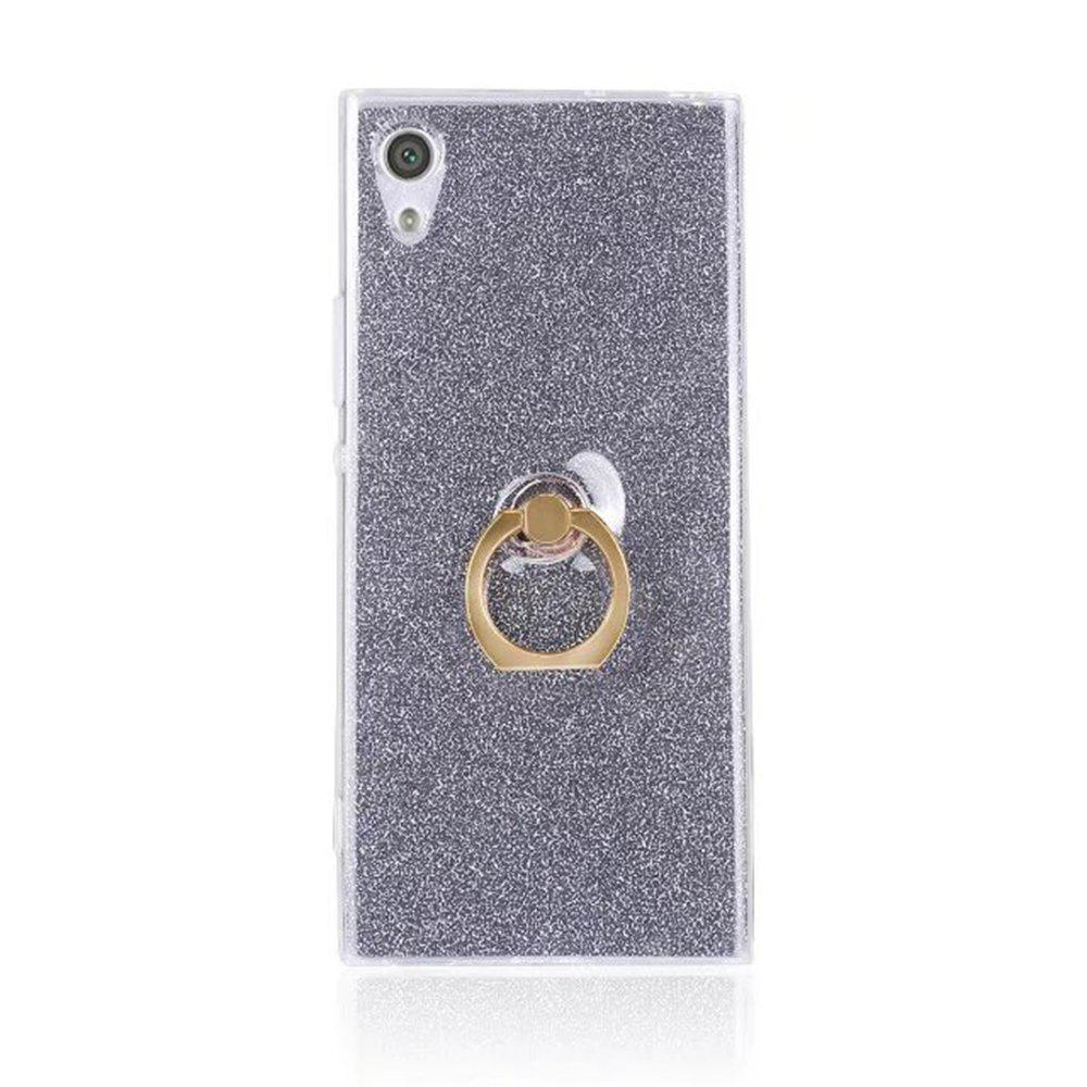 Wkae Soft Flexible TPU Back Cover Case Shockproof Protective Shell with Bling Glitter Sparkles and Kickstand for Sony Xperia XA1