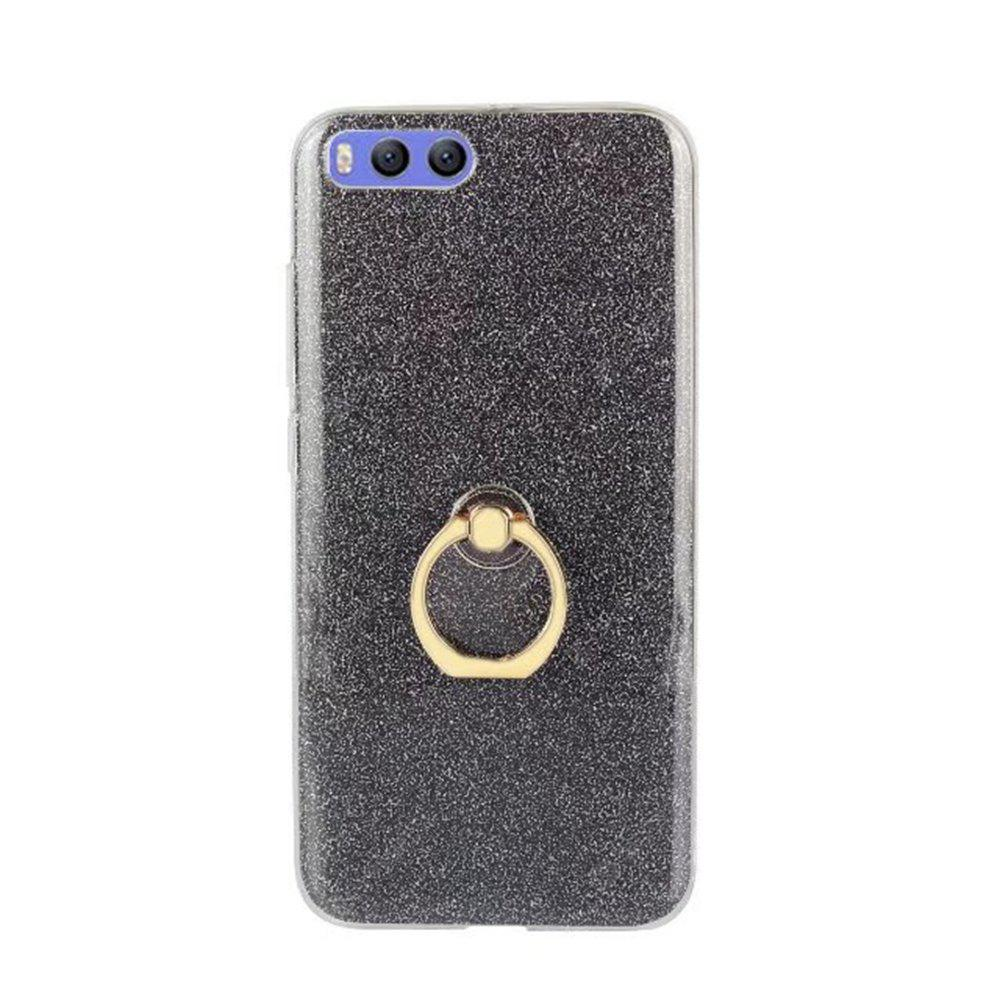 Wkae Soft Flexible TPU Back Cover Case Shockproof Protective Shell with Bling Glitter Sparkles and Kickstand for Xiaomi 6 Plus