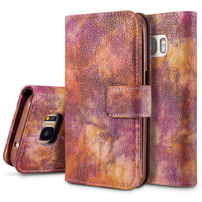 Wkae Forest Series Colorful Paiting Litchi Texture Premium PU Leather Horizontal Flip Stand Wallet Case Cover with Card Slots for Samsung Galaxy S7