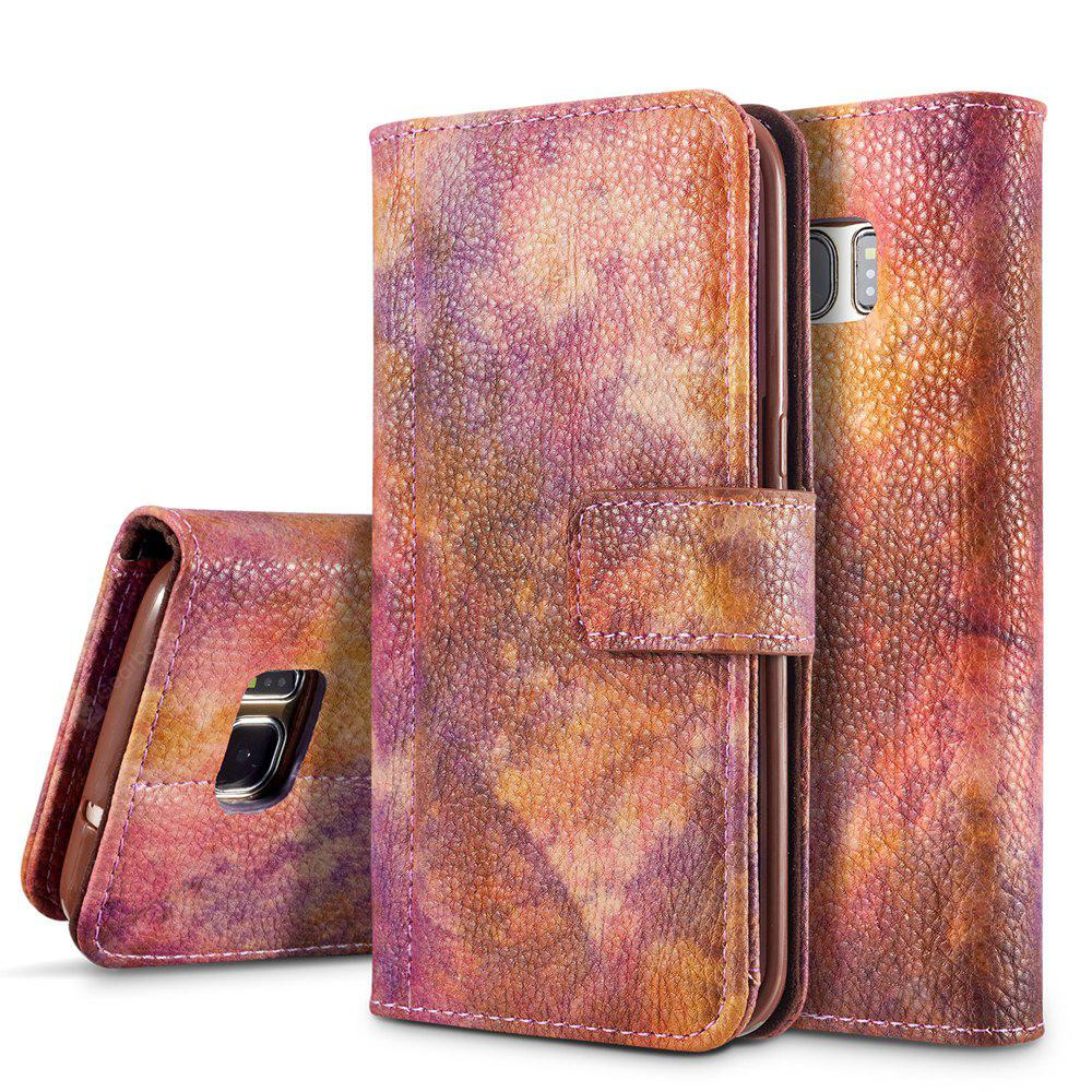 Wkae Forest Series Colorful Paiting Litchi Texture Premium PU Leather Horizontal Flip Stand Wallet Case Cover with Card Slots for Samsung Galaxy S7 Edge