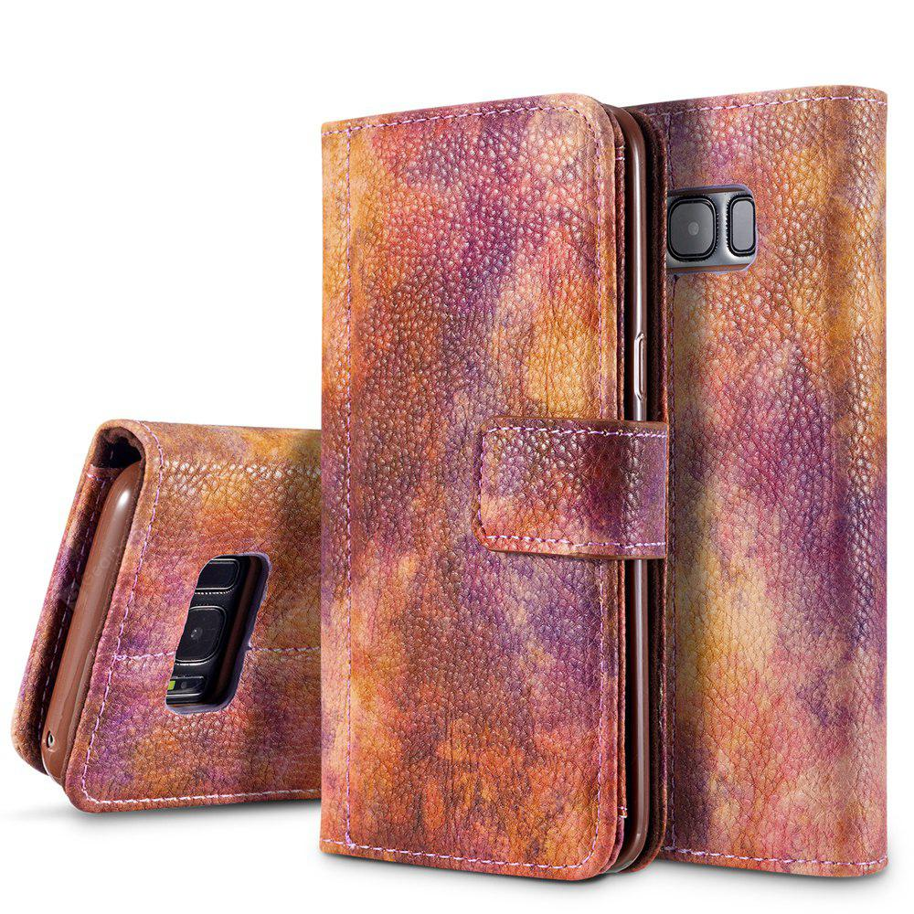 Wkae Forest Series Colorful Paiting Litchi Texture Premium PU Leather Horizontal Flip Stand Wallet Case Cover with Card Slots for Samsung Galaxy S8