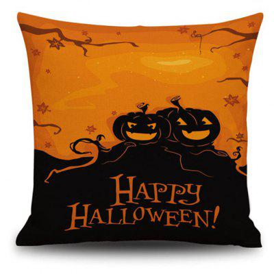 Happy Halloween Pumpkin Square Linen Decorative Throw Pillow Case Cushion Cover