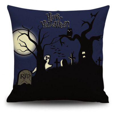 Happy Halloween Night Square Linen Decorative Throw Pillow Case Cushion Cover