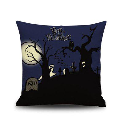 Feliz Dia das Bruxas Night Square Linen Decorative Throw Pillow Case Cobertura da almofada