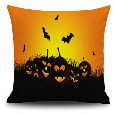 Halloween Pumpkin bat Square Linen Decorative Throw Pillow Case Cushion Cover