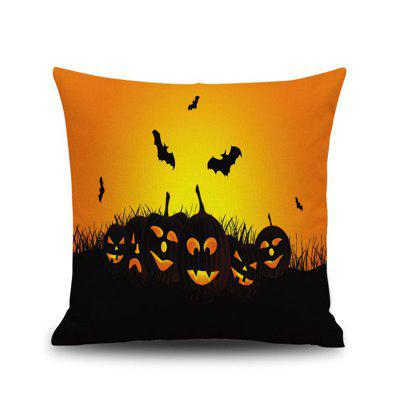 Halloween Pumpkin bat Square Linen Decorative Throw Pillow Case