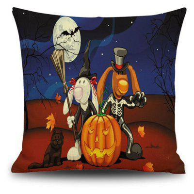 Halloween Night Animals Bunny Square Linen Decorative Throw Pillow Case Kawaii Cushion Cover
